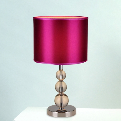 Purple 1 Light Night Lighting Countryside Fabric Drum Shade Table Light with Crystal Ball Base