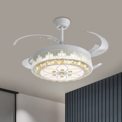 4 Blades Embedded Crystal Drum Semi Flush Modern Bedroom Led Flush Mount Ceiling Fan Light In White 19 W Beautifulhalo Com,Beveled Subway Tile Backsplash Herringbone
