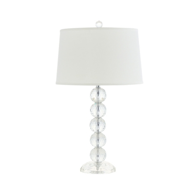 Ball Clear Crystal Night Light Countryside 1-Head Bedroom Nightstand Lamp in White with Fabric Shade