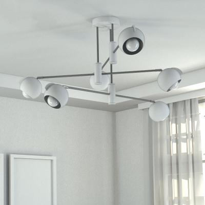 Metallic Globe Hanging Light Kit Contemporary 4/6-Bulb Chandelier Lighting in White for Bedroom