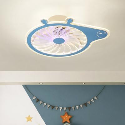 Pink/Blue Pig Ceiling Fan Lamp Fixture Cartoon 20
