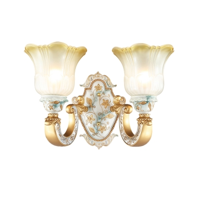 Traditional Floral Shade Wall Mount Lamp 1/2 Light White Glass Wall Sconce Lighting in Gold