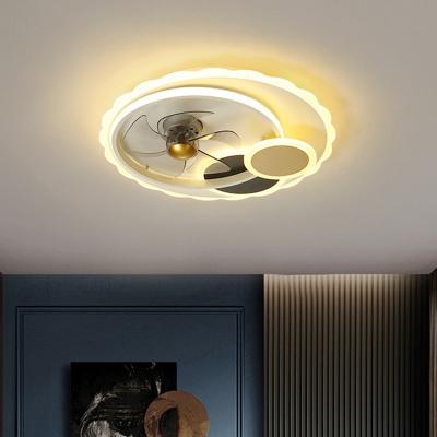 5-Blade Sun Metallic Pendant Fan Light Modernism LED Black Semi Flush Ceiling Fixture, 19.5