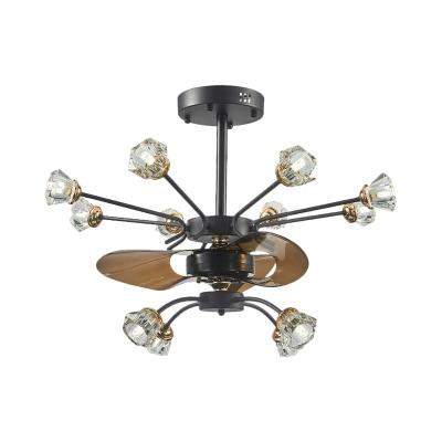 Branching Crystal Buds Fan Light Fixture Countryside 12-Light 30