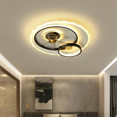 Metallic Circular Hanging Fan Light Modern 19.5