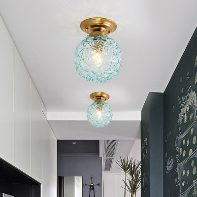 1 Head Ceiling Lamp Fixture Blue/Clear/Smoke Grey Glass Rustic Style Hallway Flushmount Lighting in Brass with Ball Shade