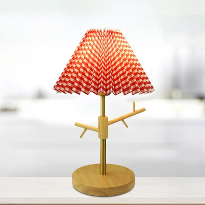1-Head Red/White/Blue Cone Desk Light Minimalism Pleated Paper Nightstand Lamp with Jewelry Rack Design