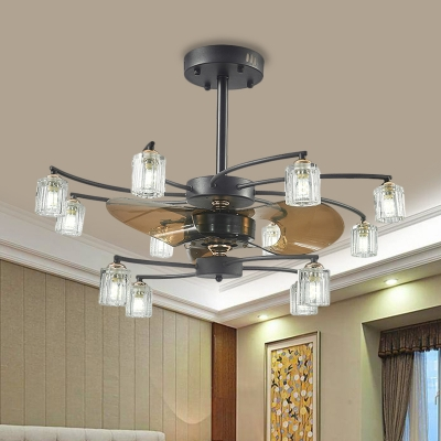 2-Tier Windmill Kitchen Ceiling Fan Rustic Crystal Prism 3-Blade 12 Heads Black Semi Flush Mount, 31.5