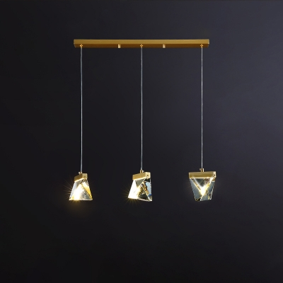 3-Bulb Clear Crystal LED Multi Pendant Post-Modern Brass Pyramid Dining Table Suspension Light