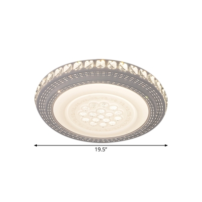 LED Kitchen Flush Light Fixture Minimalist White Close to Ceiling Lamp with Round Crystal Shade in Warm/White Light