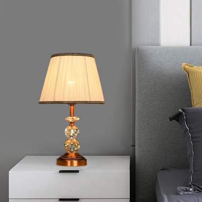 Pleated Lampshade/Drum Fabric Night Lamp Country Style 1-Light Bedside Nightstand Light in Pink/Coffee/Beige