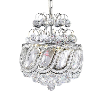 3-Light Clear Crystal Chandelier Pendant Modern Chrome Pinecone Shaped Living Room Drop Lamp
