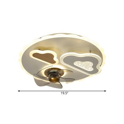5-Blade Modernist Cloud Ceiling Fan Lamp Metallic LED Bedroom Semi Flush Mount in White, 19.5