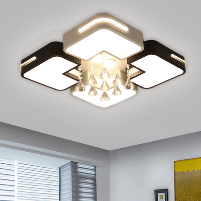 Black and White Squared Flush Light Contemporary LED Metal Ceiling Lighting with Clear Droplet in Warm/White Light