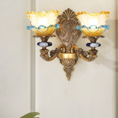 Brass 1/2-Light Sconce Light Fixture Vintage Ruffle Glass Floral Shade Wall Mounted Lamp