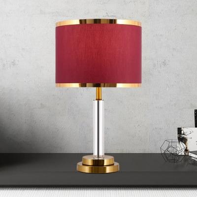 Classic Drum Shade Night Lighting 1 Bulb Fabric Nightstand Lamp in Burgundy/Beige with Column Base