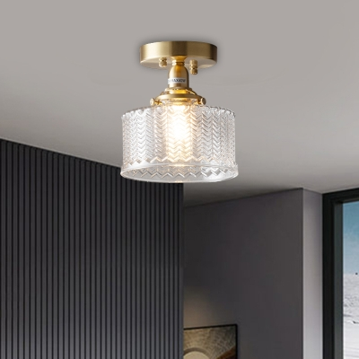 Clear Ribbed Glass Brass Semi Flush Mount Drum 1 Light Colonial Style Ceiling Fixture