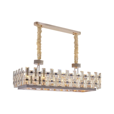 Rectangular Crystal Hanging Island Light Modern Style 12 Heads Kitchen Suspended Lighting Fixture in Gold