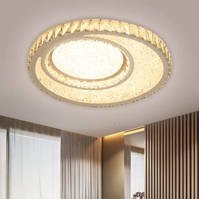 Round Flush Mount Light Contemporary Clear Crystal Chrome Finish LED Ceiling Lamp in Warm/White Light for Bedroom