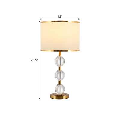 1-Light Fabric Nightstand Lighting Rustic Gold Drum Bedroom Table Light with Crystal Block