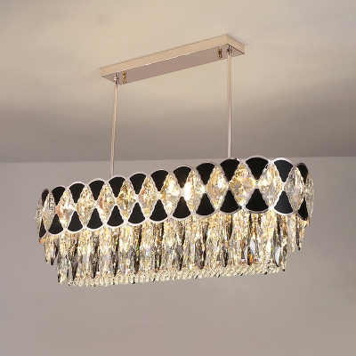 12 Bulbs Hanging Island Light Modern Dining Room Pendant Lamp with Oblong Crystal Shade in Black