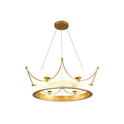 Acrylic Crown Hanging Pendant Cartoon 6 Lights Gold Chandelier Light Fixture with White Glass Shade