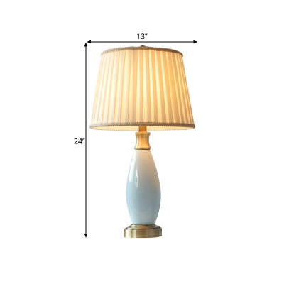 Barrel Bedroom Nightstand Lamp Colonial Fabric LED Blue Task Lighting with Ceramic Body