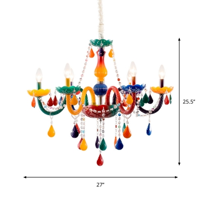 Candlestick Nursery Chandelier Light Metal 6-Head Kids Style Suspension Lamp in Red-Yellow with Crystal Bead Deco