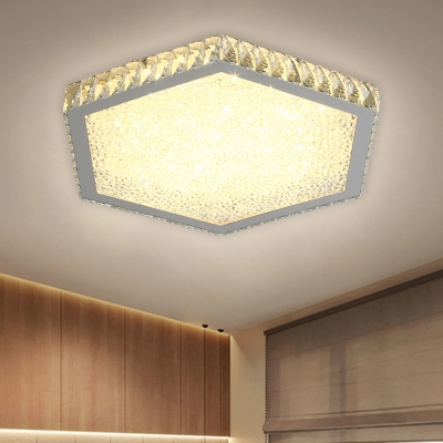 Hexagonal Faceted Crystal Flushmount Light Modernity LED Chrome Close to Ceiling Lamp in Warm/White Light