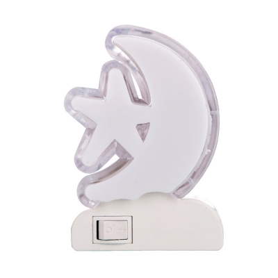 Kids LED Mini Night Lighting White Moon and Star Plug-in Wall Lamp with Plastic Shade
