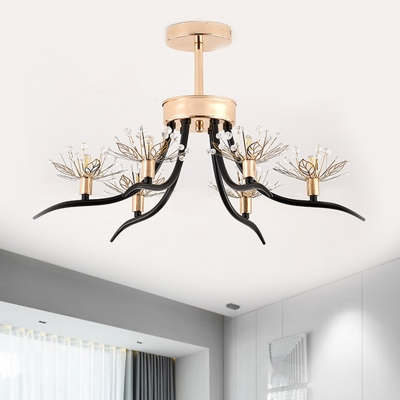 Metallic Dandelion Ceiling Fixture Contemporary 6 Lights Semi Flush in Black with Branch Design