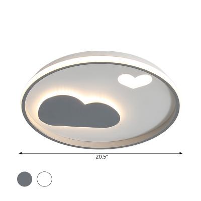 Round Metallic Flush Mount Light Kids Black/White LED Flushmount Lighting with Cloud and Heart Detail in Warm/White Light