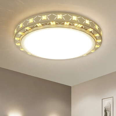 Round/Square Ceiling Fixture Modern Style Metal LED White Finish Crystal Flush Mount Lighting for Bedroom