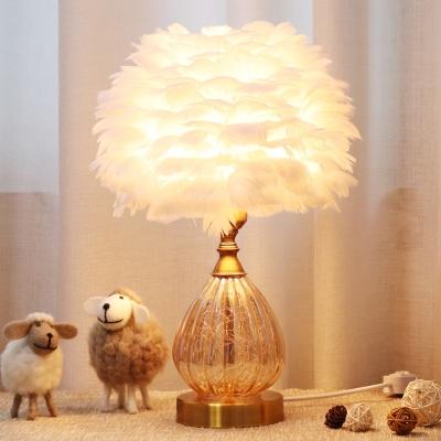 Tan Glass Teardrop Desk Lighting Modernist 1 Light White Night Lamp with Feather Design