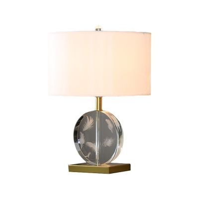 1-Head Night Stand Lighting Classic Bedside Table Light with Round Fabric Shade in White