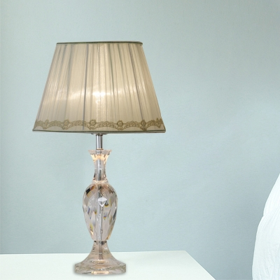 1 Head Nightstand Lamp Rural Style Urn Crystal Table Light with Beige/Green Cone Fabric Shade