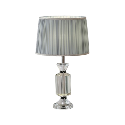1 Light Nightstand Light Contemporary Drum Pleated Fabric Shade Night Table Lamp in White/Blue with Crystal Base