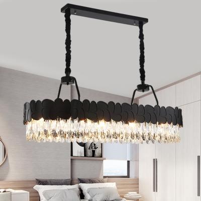 8-Light Crystal Island Lighting Ideas Modern Black Elongated Dining Room Ceiling Pendant Lamp