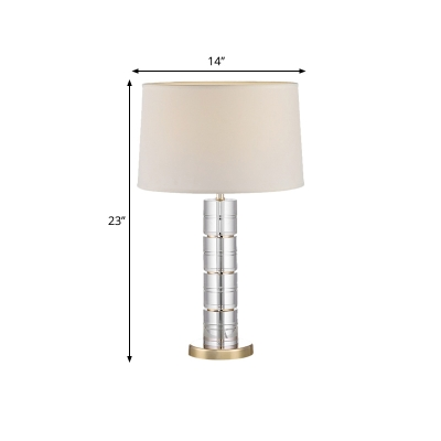 Beige 1 Light Night Stand Light Traditional Fabric Drum Shaped with Crystal Cylinder Base