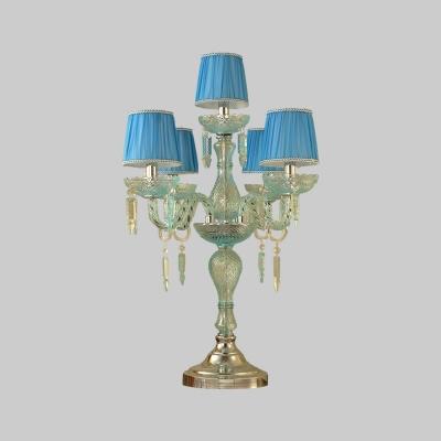 Blue Pleated Lampshade Table Lighting Rustic Fabric 5/6/7 Bulbs Study Room Nightstand Lamp
