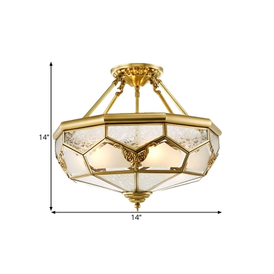 Colonial Geometric Semi Flush Mount 3/4 Bulbs 14