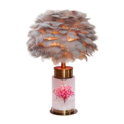 Cylindrical Base Night Light Modern Clear Glass 1-Bulb Bedside Table Lamp with Feather Shade in Grey/White/Pink