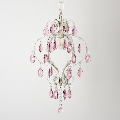 Distressed White 1 Bulb Pendant Traditional Metal Scroll Arm Ceiling Hang Fixture with Pink Crystal Drip Decor