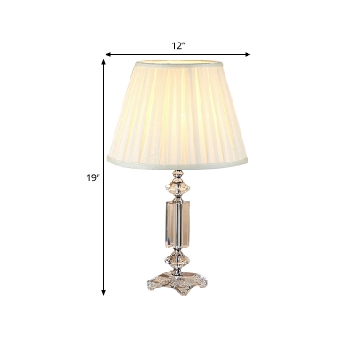 Fabric Blue/Beige/Cream Gray Night Lamp Pleated Shade 1 Light Traditional Nightstand Lighting with Crystal Base