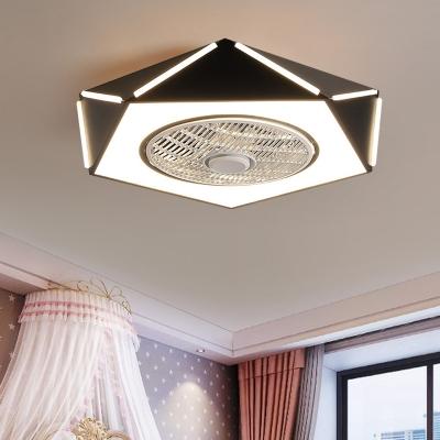 Pentagon Flush Mount Fan Lamp Macaron Metal LED Bedroom Semi Flush Light Fixture in White/Black/Pink, 21.5