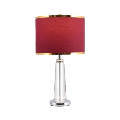 Rural Cylinder Table Lamp 1-Head Fabric Nightstand Lighting in Burgundy with Crystal Column