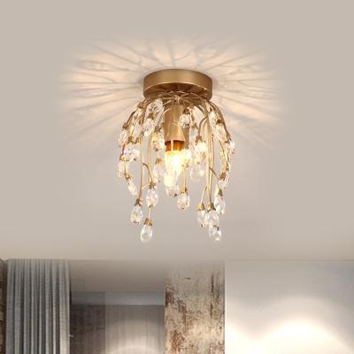 Teardrop Clear Crystal Semi Flush Mount Modernism 1 Bulb Hallway Close to Ceiling Lamp