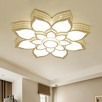 3-Tier Lotus Flush Light Fixture Modernism Acrylic LED Bedroom Ceiling Lighting in White, 21.5