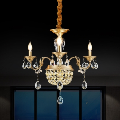 Brass 3/5 Bulbs Hanging Lamp Retro Style Clear/Amber Crystal Candle Chandelier for Dining Room