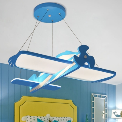 Cartoon Aircraft Chandelier Lamp Acrylic LED Kids Bedroom Pendant Lighting Fixture in Blue